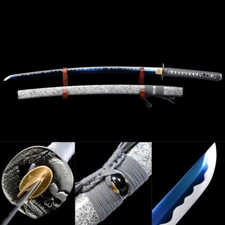 Handmade High Manganese Steel Blue Blade Real Japanese Samurai Katana Swords With Gray Scabbard