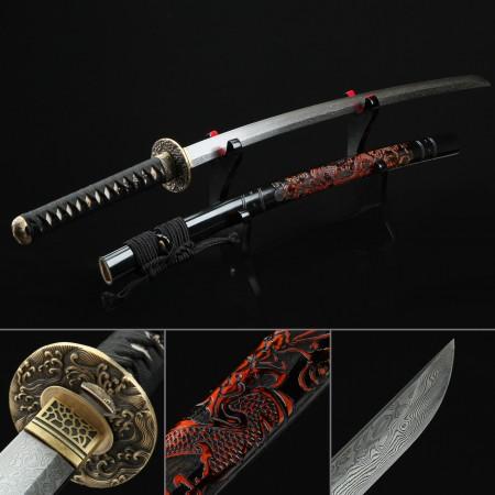 High-performance Pattern Steel  Authentic Japanese Katana Samurai Swords With Dragon Scabbard
