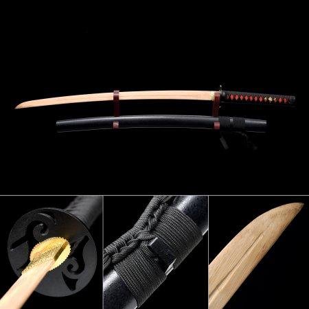 Handmade Bamboo Wooden Blunt Unsharpened Blade Unsharpened Katana Samurai Swords With Black Scabbard