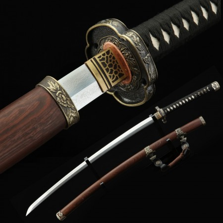 Handmade Damascus Steel Copper Chinese Lion Theme Real Japanese Tachi, Odachi And Nodachi Swords