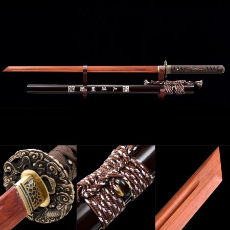 Handmade Bamboo Wooden Blade Unsharpened Ninjato Ninja Sword With Brown Scabbard
