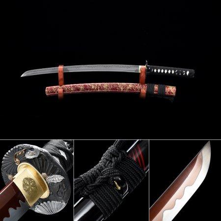 Handmade High Manganese Steel Red Balde Real Japanese Wakizashi Sword With Red Scabbard