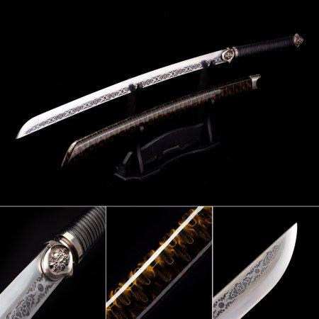 Handmade High Manganese Steel Real Japanese Katana Samurai Swords With Multi-colored Scabbard