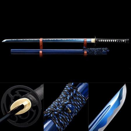 Handmade High Manganese Steel Blue Blade Real Japanese Ninjato Ninja Sword With Blue Scabbard