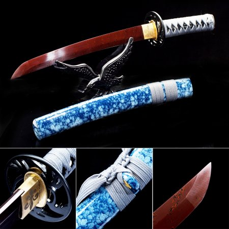 Handmade Pattern Steel Red Blade Sharpening Japanese Tanto Swords With Blue Scabbard