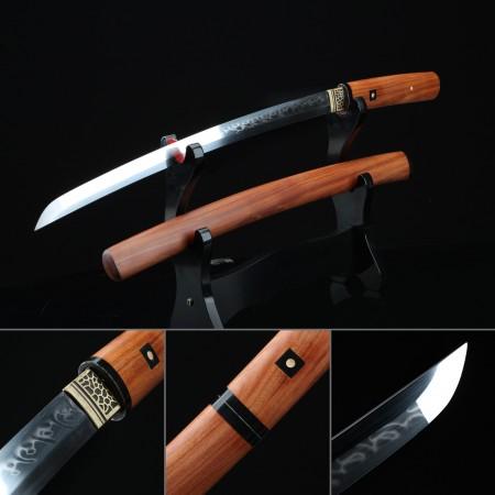 Handmade Shirasaya Wakizashi Sword Real Hamon Without Tsuba With Natural Scabbard