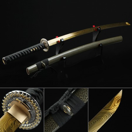 Japanese Sword, Handmade Katana Sword High Manganese Steel With Golden Blade And Olive Scabbard