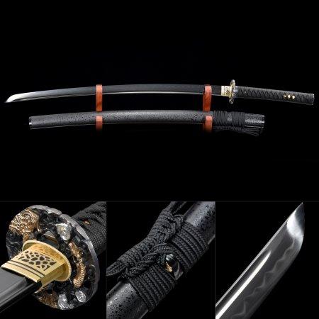 Handmade T10 Carbon Steel Real Hamon Sharpening Japanese Samurai Katana Sword With Black Scabbard