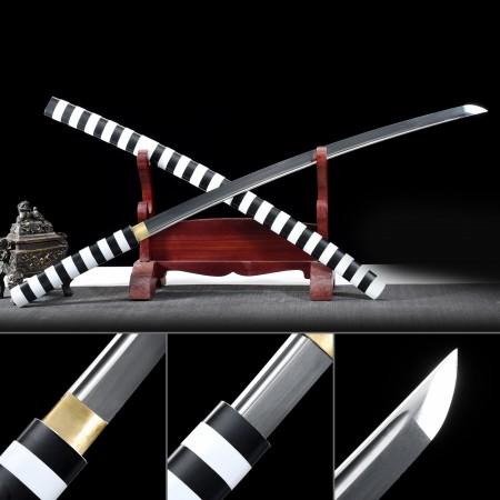 Handmade High Manganese Steel Real Japanese Katana Samurai Sword Without Tsuba With White Scabbard