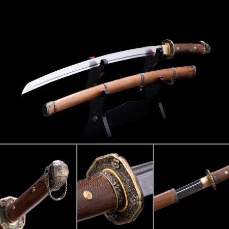 Handmade Pattern Steel Real Japanese Samurai Katana Swords With Natural Scabbard And Flower Tsuba