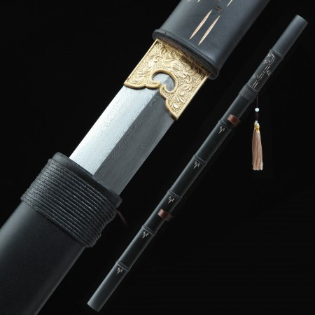 Handmade Pattern Steel Straight Blade Chinese Broadsword With Black Bamboo Scabbard