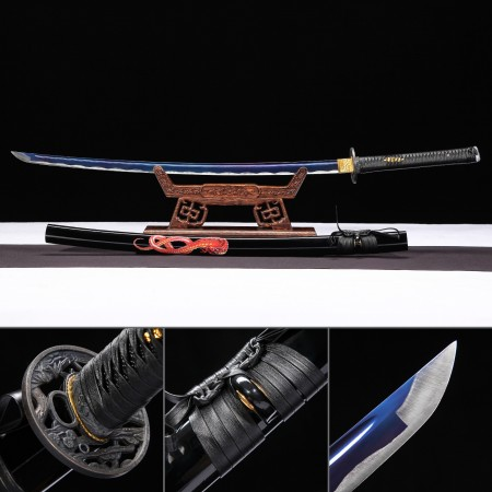 Handmade High Manganese Steel Blue Blade Real Japanese Katana Samurai Sword With Black Scabbard