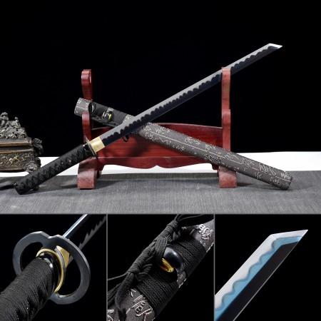 Handmade 1045 Carbon Steel Blue Blade Real Japanese Ninjato Ninja Sword With Gray Scabbard