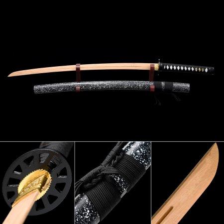 Handmade Natural Wooden Blunt Unsharpened Blade Katana Samurai Swords With Black Scabbard