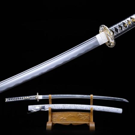 Full Tang Katana, Japanese Samurai Sword Spring Steel With White Scabbard