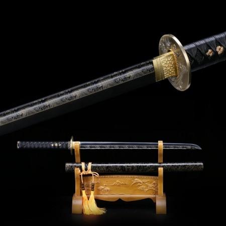 Handmade Straight Black Katana Real Japanese Ninja Samurai Swords With Blade