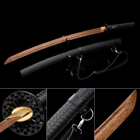 Handmade Brown Wooden Blunt Unsharpened Blade Katana Sword With Black Leather Scabbard