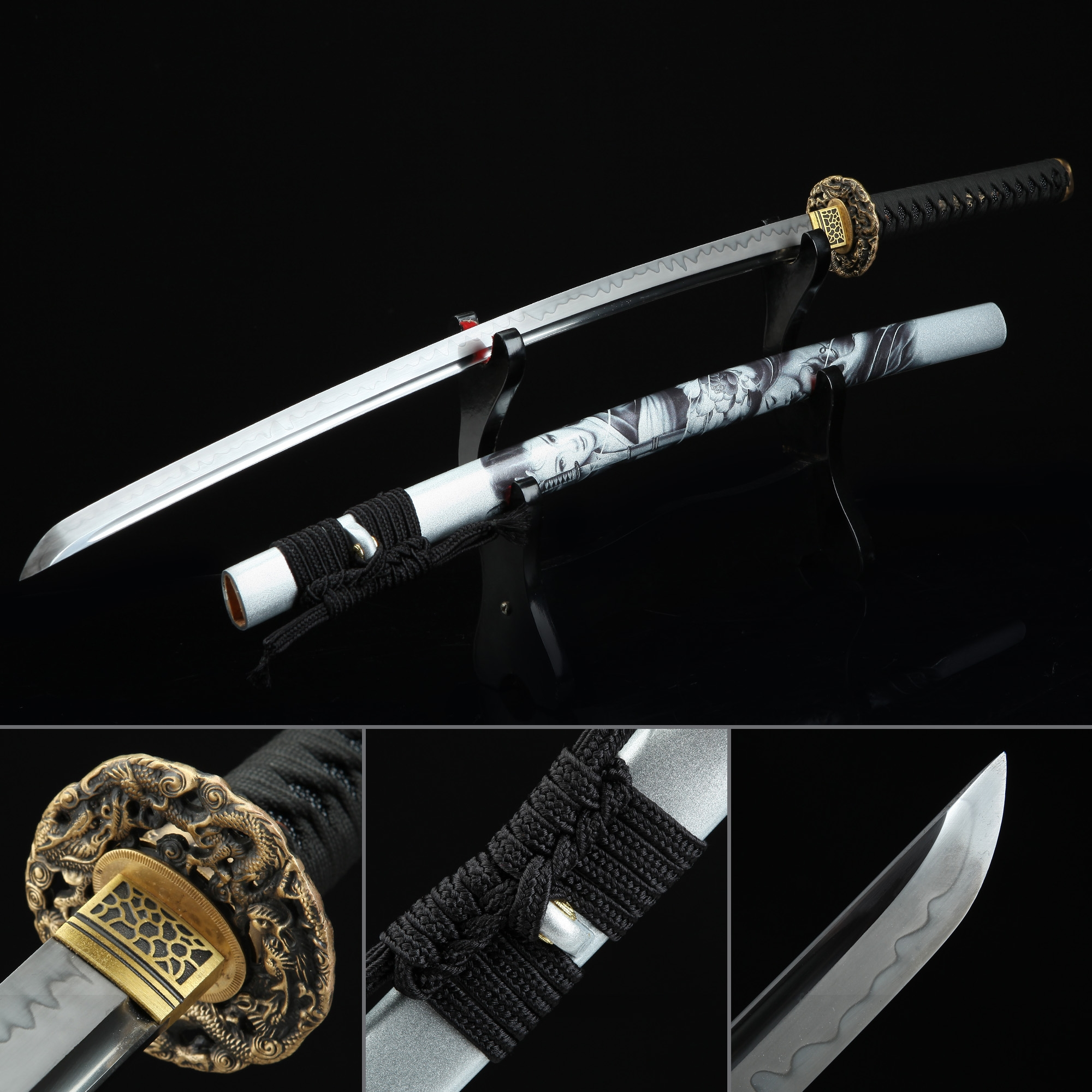 Battle Ready Sword, Japanese Katana Sword T10 Folded Clay Tempered Steel With White Scabbard