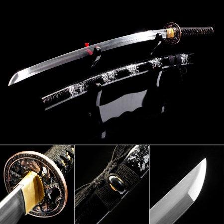 High Manganese Steel Japanese Katana Samurai Swords With Black Leather Scabbard And  Copper Tsuba