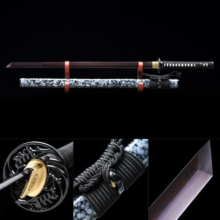 Handmade Pattern Steel Purple Blade Real Japanese Ninjato Ninja Swords With Marble Scabbard