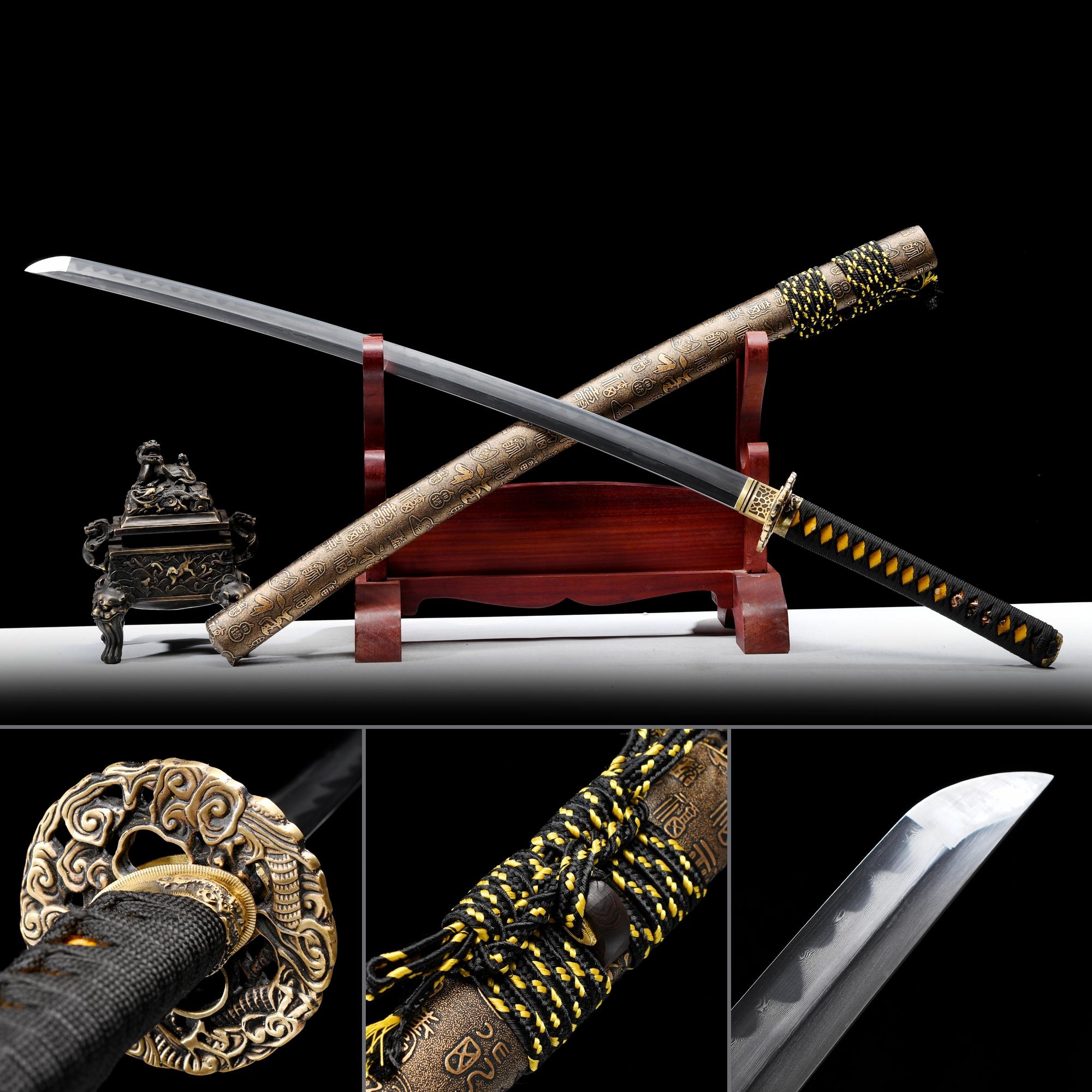 High-performance Pattern Steel Real Hamon Japanese Katana Samurai Sword With Bronze Scabbard