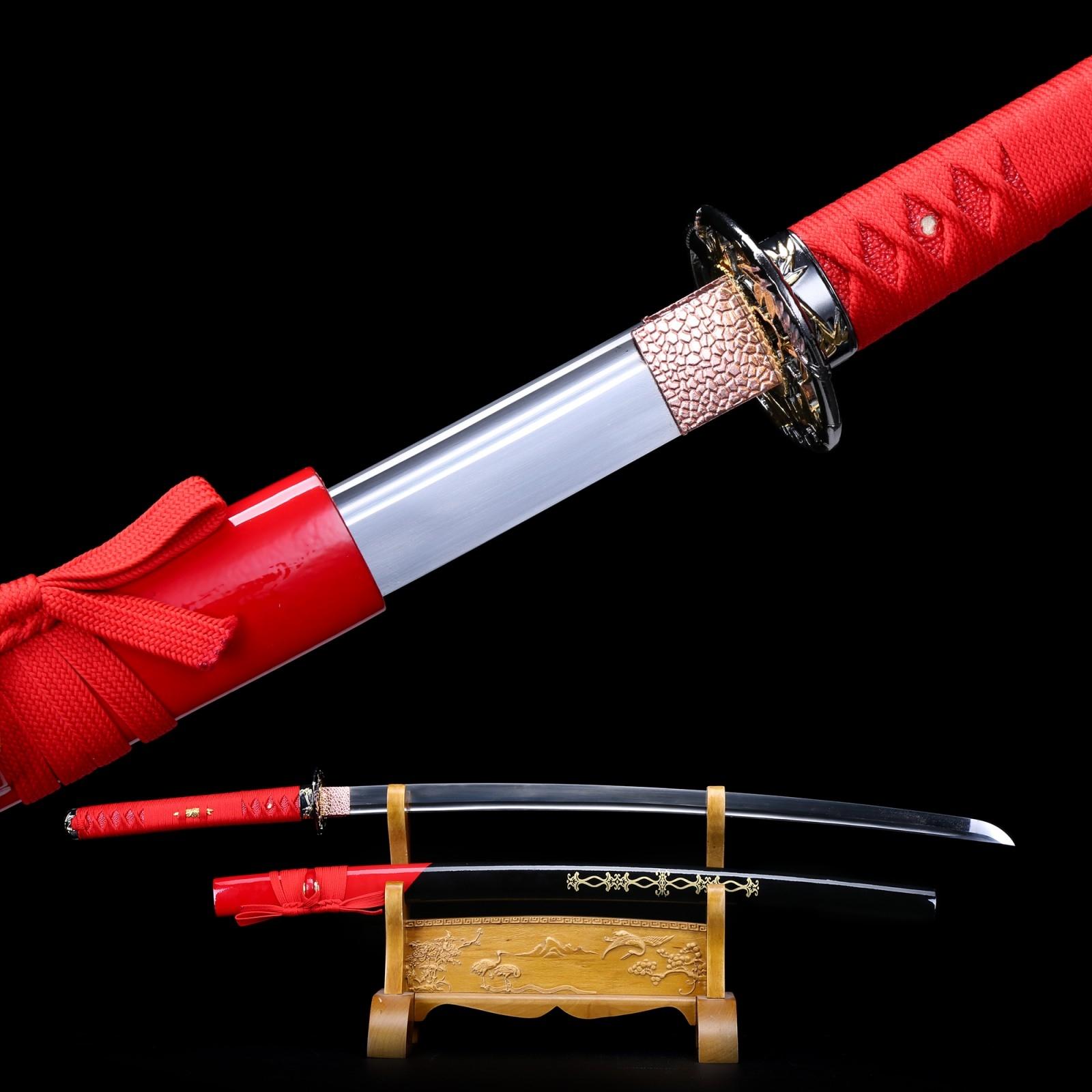 Handmade Spring Steel Flower Tsuba Red Mix Saya Katana Japanese Samurai Swords