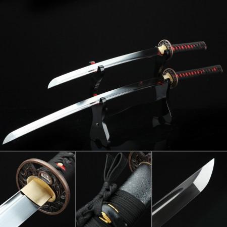 Handmade Carbon Steel Black Japanese Daisho Set Wakizashi And Katana Samurai Sword Set
