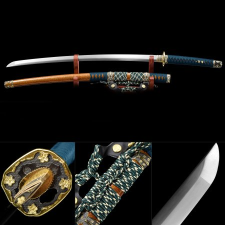 Handmade Spring Steel Real Japanese Katana Samurai Sword With Orange Scabbard And Flower Tsuba