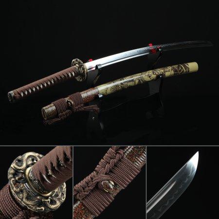 Handmade T10 Carbon Steel Authentic Hamon Japanese Katana Samurai Sword With Brown Scabbard