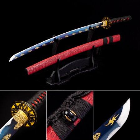 Handmade High Manganese Steel Blue Blade Japanese Katana Samurai Swords With Red Leather Scabbard