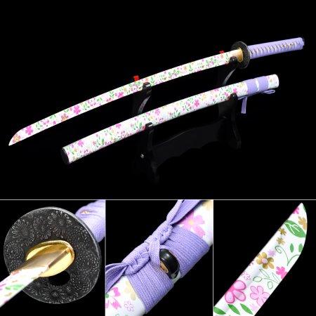 Handmade Aluminum Flower Blade Blunt Unsharpened  Practice Katana For Beginner Training