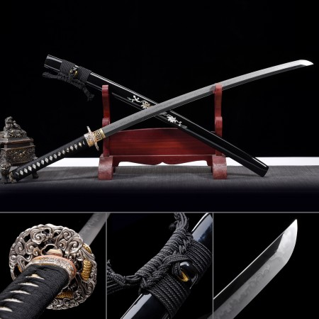 Battle Ready Sword, Authentic Japanese Katana T10 Folded Clay Tempered Steel Tactical Swords