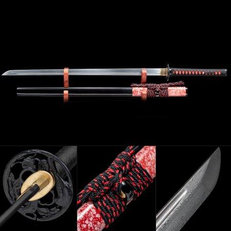 Handmade Pattern Steel Round Theme Tsuba Real Japanese Ninjato Ninja Swords With Black Scabbard