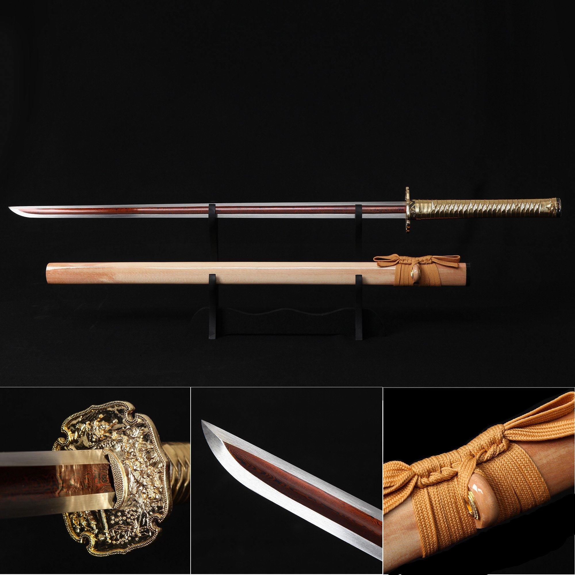 Handmade Two Side Blade Gold Japanese Real Ninjato Ninja Swords Samurai Swords