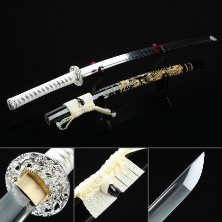 Handmade High Manganese Steel Dragon Tsuba Japanese Katana Samurai Sword With Black Scabbard