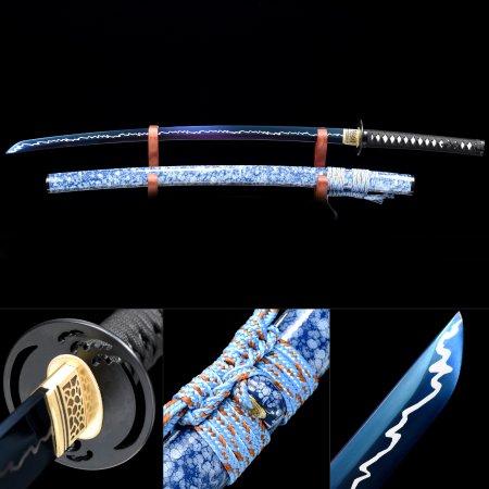 Blue Rose Katana, Handmade Japanese Samurai Sword High Manganese Steel With Blue Blade And Scabbard