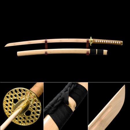 Handmade Natural Bamboo Wooden Blade Unsharpened Katana Sword With Bamboo Scabbard And Alloy Tsuba