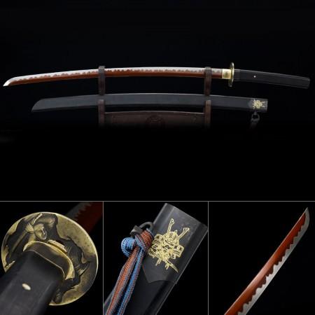 Handmade High Manganese Steel Red Blade Real Japanese Katana Samurai Swords