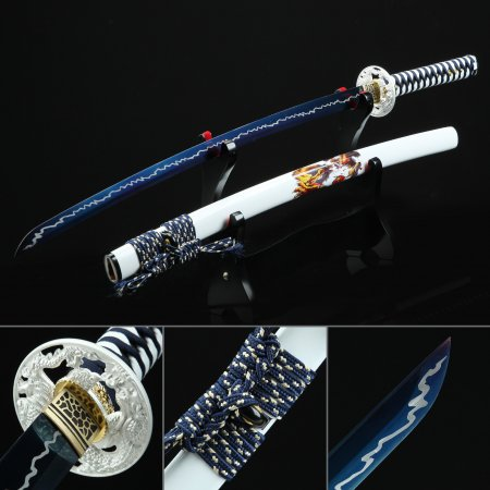 Handmade Blue And White Katana Sword High Manganese Steel With Blue Blade And White Scabbard