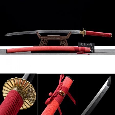 Handmade Clay Tempered T10 Steel Katana Samurai Swords With Red Rayskin Saya Real Copper Tsuba