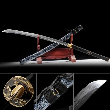 Hand Forged Damascus Steel Naginata Samurai Swords With Granite Style Scabbard
