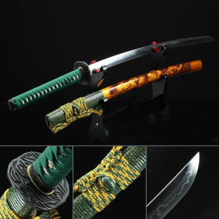 Battle Ready Sword, Authentic Japanese Katana Sword T10 Folded Clay Tempered Steel