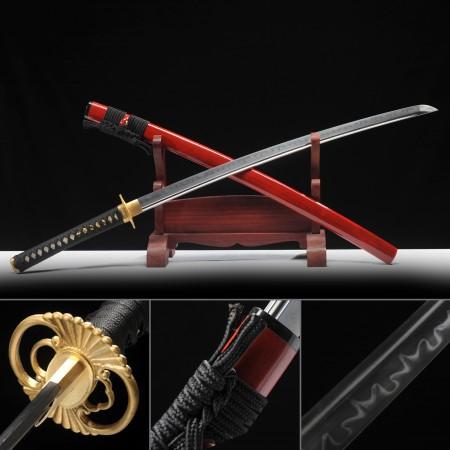 Handmade T10 Carbon Steel Sharpened Real Japanese Katana Samurai Sword With Red Scabbard