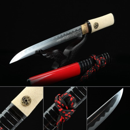 High-performance Pattern Steel Real Japanese Aikuchi Tanto Sword With Red Scabbard
