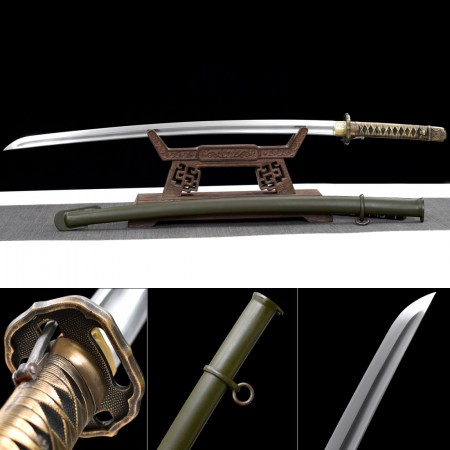 Samurai Sword, Handmade Japanese Samurai Sword 1095 Carbon Steel With Real Copper Tsuba