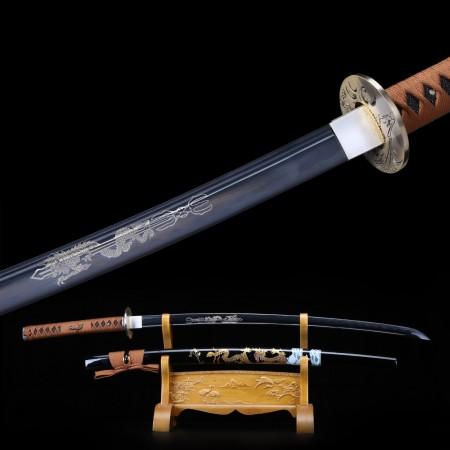 Handmade Carbon Steel Dragon Laser Carving Black Blade Real Katana Samurai Sword