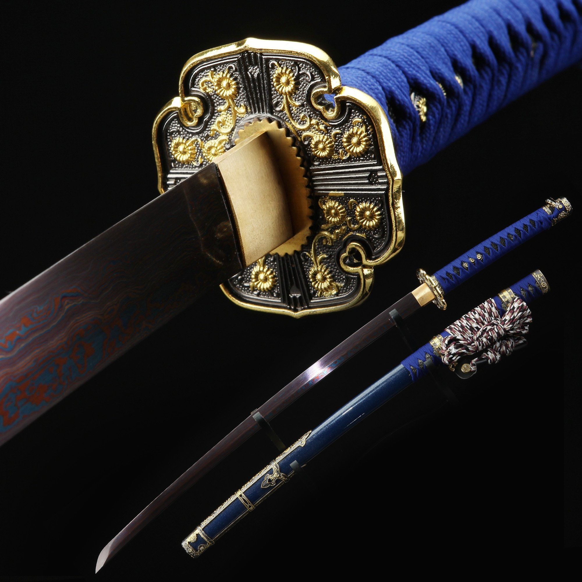Blue Rose Katana, Japanese Tachi Odachi Sword With Damascus Steel With Blue Scabbard