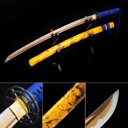 Handmade Japanese Samurai Sword High Manganese Steel With Golden Blade And Yellow Scabbard