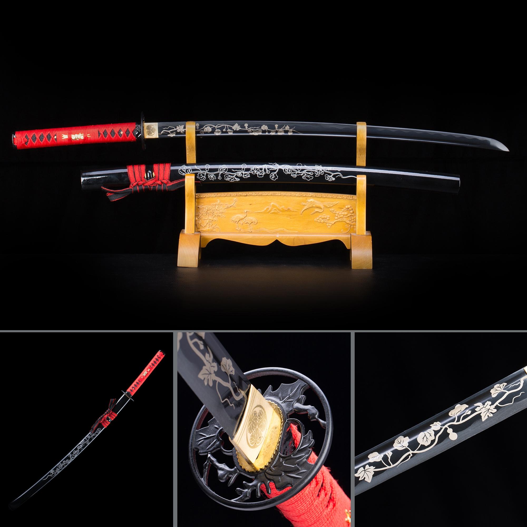 Black And Red Katana, Handmade Full Tang Japanese Katana Swords With Black Scabbard