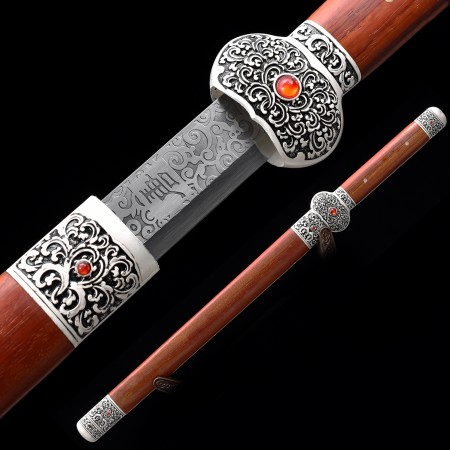 Handmade 1045 Carbon Steel Chinese Han Dynasty Sword With Rosewood Scabbard
